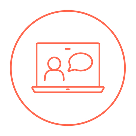 chat online: Video chat online line icon for web, mobile and infographics. Vector red thin line icon in the circle isolated on white background.