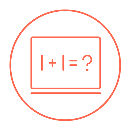 for example: Maths example written on blackboard line icon for web, mobile and infographics. Vector red thin line icon in the circle isolated on white background.