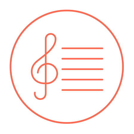 g clefs: Treble clef line icon for web, mobile and infographics. Vector red thin line icon in the circle isolated on white background.