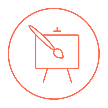 Easel and paint brush line icon for web, mobile and infographics. Vector red thin line icon in the circle isolated on white background.