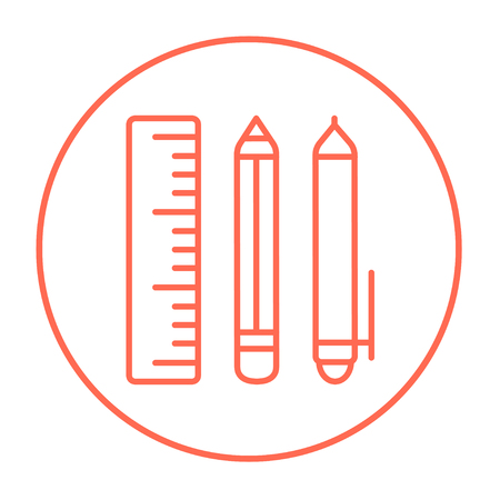 implements: School supplies line icon for web, mobile and infographics. Vector red thin line icon in the circle isolated on white background.