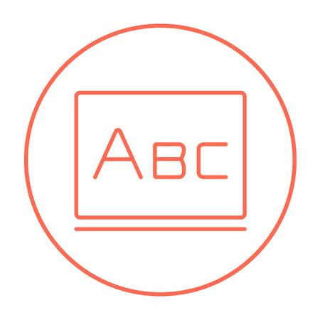 Letras abc en el icono de línea de pizarra para web, móvil e infografía. Vector el icono rojo delgada línea en el círculo aislado sobre fondo blanco. Foto de archivo - 53579850