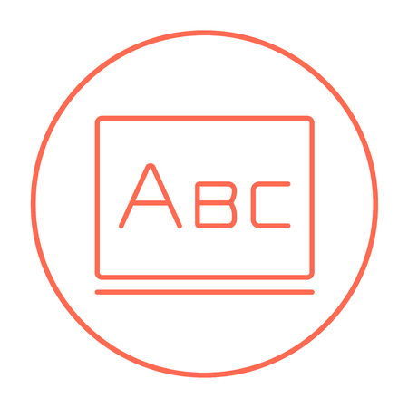 Letters abc on the blackboard line icon for web, mobile and infographics. Vector red thin line icon in the circle isolated on white background.