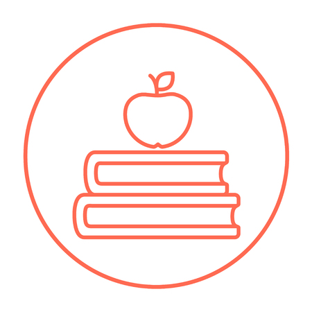 classbook: Books and apple on the top line icon for web, mobile and infographics. Vector red thin line icon in the circle isolated on white background.