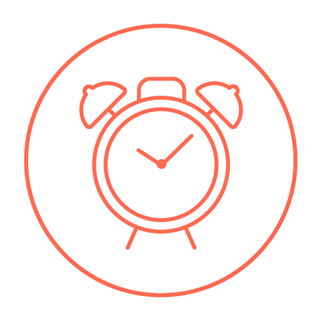 Alarm clock line icon for web, mobile and infographics. Vector red thin line icon in the circle isolated on white background. Ilustração