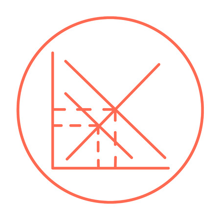 ordinate: Mathematical graph line icon for web, mobile and infographics. Vector red thin line icon in the circle isolated on white background.