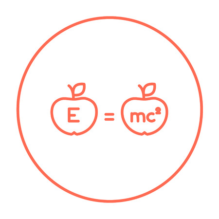 mc2: Two apples with formulae line icon for web, mobile and infographics. Vector red thin line icon in the circle isolated on white background.