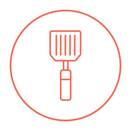 prepare: Kitchen spatula line icon for web, mobile and infographics. Vector red thin line icon in the circle isolated on white background.