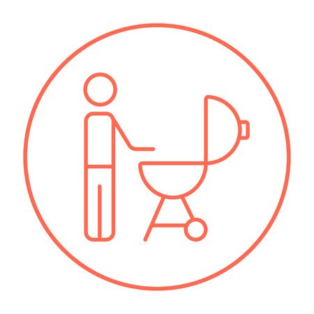 Man at kettle barbecue grill line icon for web, mobile and infographics. Vector red thin line icon in the circle isolated on white background.