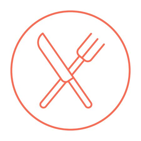 meat chopper: Crossed  knife and fork line icon for web, mobile and infographics. Vector red thin line icon in the circle isolated on white background. Illustration