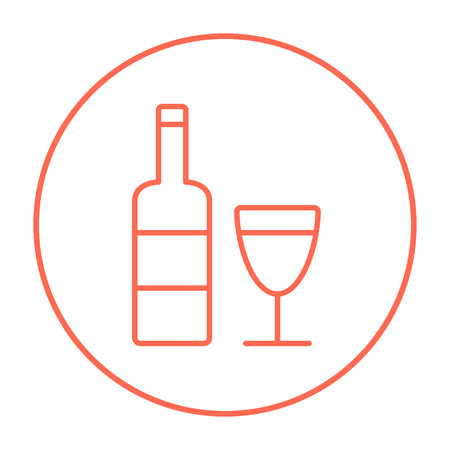 brandy: Bottle of wine line icon for web, mobile and infographics. Vector red thin line icon in the circle isolated on white background. Illustration
