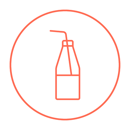 non alcoholic: Glass bottle with drinking straw line icon for web, mobile and infographics. Vector red thin line icon in the circle isolated on white background.