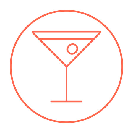 Cocktail glass line icon for web, mobile and infographics. Vector red thin line icon in the circle isolated on white background.