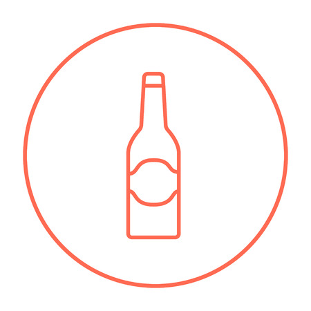 brandy: Glass bottle line icon for web, mobile and infographics. Vector red thin line icon in the circle isolated on white background.