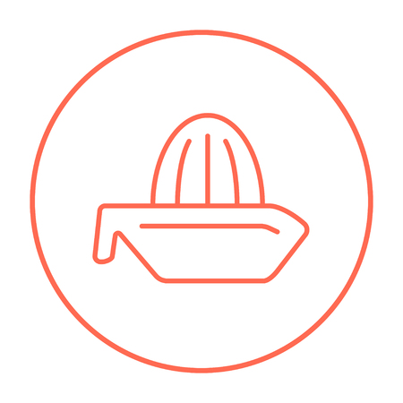 prepare: Lemon squeezer line icon for web, mobile and infographics. Vector red thin line icon in the circle isolated on white background.