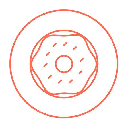 Web、モバイル、インフォ グラフィックのドーナツ ライン アイコン。白い背景で隔離サークルのベクトル赤い細い線アイコン。  イラスト・ベクター素材