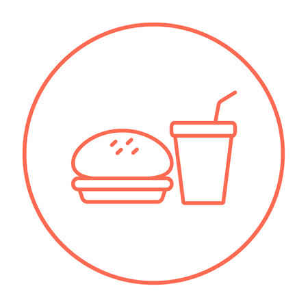 junky: Fast food meal line icon for web, mobile and infographics. Vector red thin line icon in the circle isolated on white background.