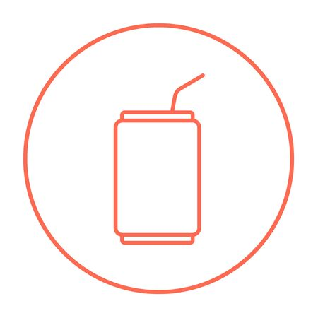 soda can: Soda can with drinking straw line icon for web, mobile and infographics. Vector red thin line icon in the circle isolated on white background.