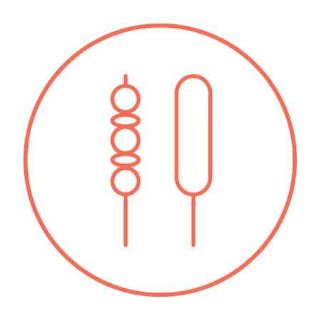 Shish kebab line icon for web, mobile and infographics. Vector red thin line icon in the circle isolated on white background. Ilustração