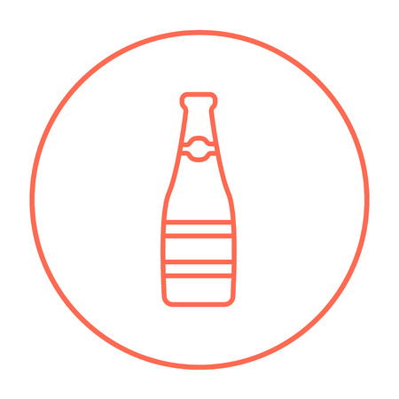 Glass bottle line icon for web, mobile and infographics. Vector red thin line icon in the circle isolated on white background.