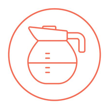 Carafe line icon for web, mobile and infographics. Vector red thin line icon in the circle isolated on white background.