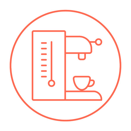 Coffee maker line icon for web, mobile and infographics. Vector red thin line icon in the circle isolated on white background. Vectores