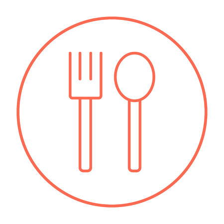 meat chopper: Spoon and fork line icon for web, mobile and infographics. Vector red thin line icon in the circle isolated on white background.