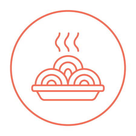 Hot meal in plate line icon for web, mobile and infographics. Vector red thin line icon in the circle isolated on white background. Ilustrace