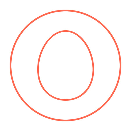 Egg line icon for web, mobile and infographics. Vector red thin line icon in the circle isolated on white background.
