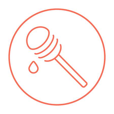 Honey dipper line icon for web, mobile and infographics. Vector red thin line icon in the circle isolated on white background.