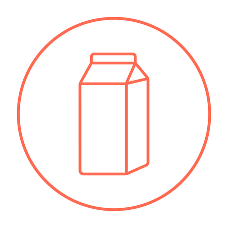 packaged: Packaged dairy product line icon for web, mobile and infographics. Vector red thin line icon in the circle isolated on white background. Illustration