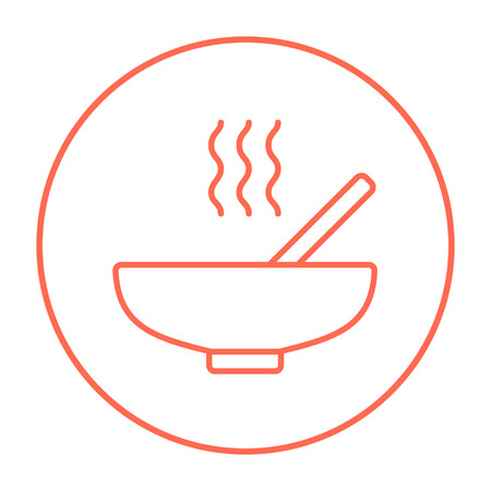 broth: Bowl of hot soup with spoon line icon for web, mobile and infographics. Vector red thin line icon in the circle isolated on white background. Illustration