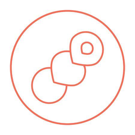 Web、モバイル、インフォ グラフィックのスパイラル パン線アイコン。白い背景で隔離サークルのベクトル赤い細い線アイコン。