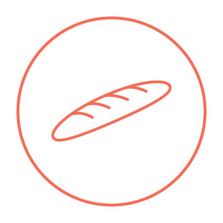 Web、モバイル、インフォ グラフィックのバゲット ライン アイコン。白い背景で隔離サークルのベクトル赤い細い線アイコン。  イラスト・ベクター素材
