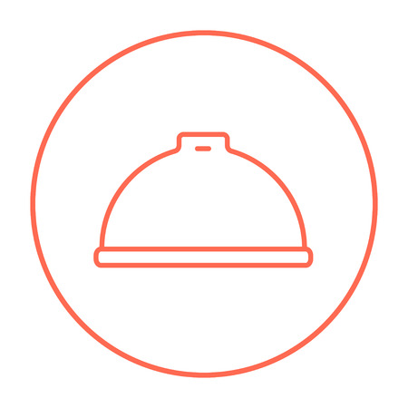 Restaurant cloche line icon for web, mobile and infographics. Vector red thin line icon in the circle isolated on white background.