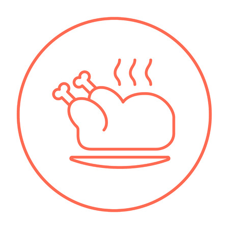 whole chicken: Baked whole chicken line icon for web, mobile and infographics. Vector red thin line icon in the circle isolated on white background.