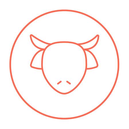 牛の頭は、web、モバイルのアイコンとインフォ グラフィックをラインします。白い背景で隔離サークルのベクトル赤い細い線アイコン。