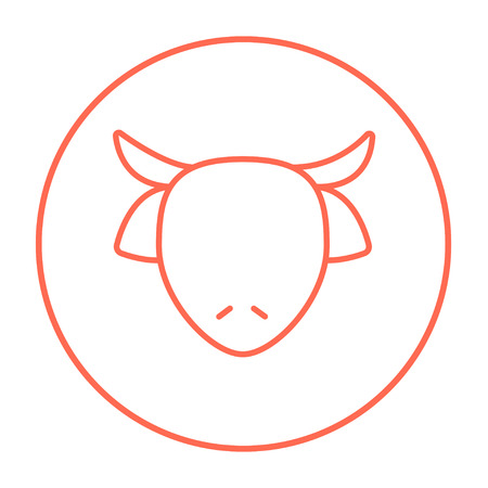 Cow head line icon for web, mobile and infographics. Vector red thin line icon in the circle isolated on white background.