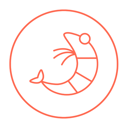 krill: Shrimp line icon for web, mobile and infographics. Vector red thin line icon in the circle isolated on white background.