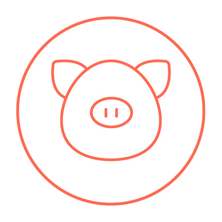 pigling: Pig head line icon for web, mobile and infographics. Vector red thin line icon in the circle isolated on white background.