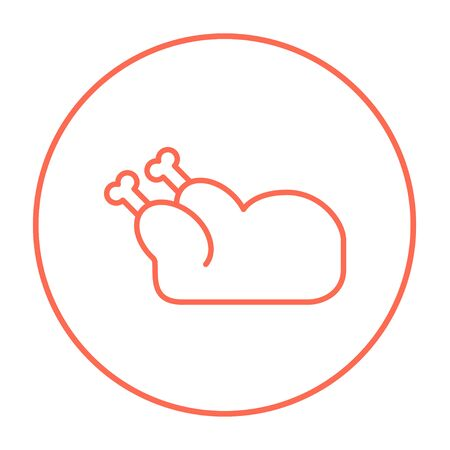 Raw chicken line icon for web, mobile and infographics. Vector red thin line icon in the circle isolated on white background.