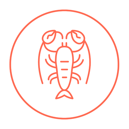 Lobster line icon for web, mobile and infographics. Vector red thin line icon in the circle isolated on white background.