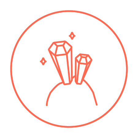 crystalline: Gemstones line icon for web, mobile and infographics. Vector red thin line icon in the circle isolated on white background.