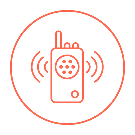 transmit: Radio set line icon for web, mobile and infographics. Vector red thin line icon in the circle isolated on white background.