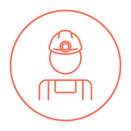 coal miner: Coal miner line icon for web, mobile and infographics. Vector red thin line icon in the circle isolated on white background.