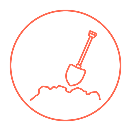 Mining shovel line icon for web, mobile and infographics. Vector red thin line icon in the circle isolated on white background.