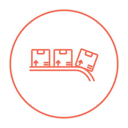 Kartonnen doos op transportband lijn pictogram voor web, mobiel en infographics. Vector rode dunne lijn pictogram in de cirkel op een witte achtergrond. Vector Illustratie
