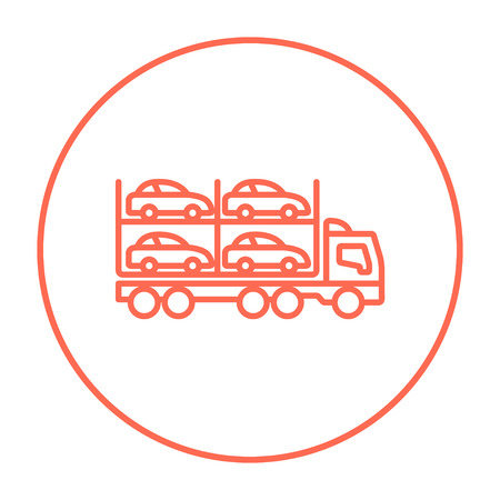 Car carrier line icon for web, mobile and infographics. Vector red thin line icon in the circle isolated on white background.