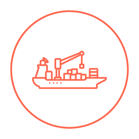 navy pier: Cargo container ship line icon for web, mobile and infographics. Vector red thin line icon in the circle isolated on white background. Illustration