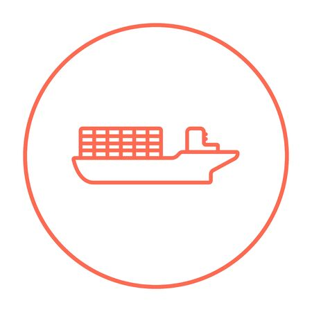 Cargo container ship line icon for web, mobile and infographics. Vector red thin line icon in the circle isolated on white background. Ilustração